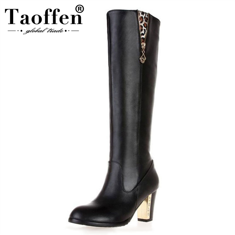 TAOFFEN Free shipping over knee natrual real genuine leather high heel boots women snow winter warm shoes R1536 EUR size 31-45TAOFFEN Free shipping over knee natrual real genuine leather high heel boots women snow winter warm shoes R1536 EUR size 31-45
