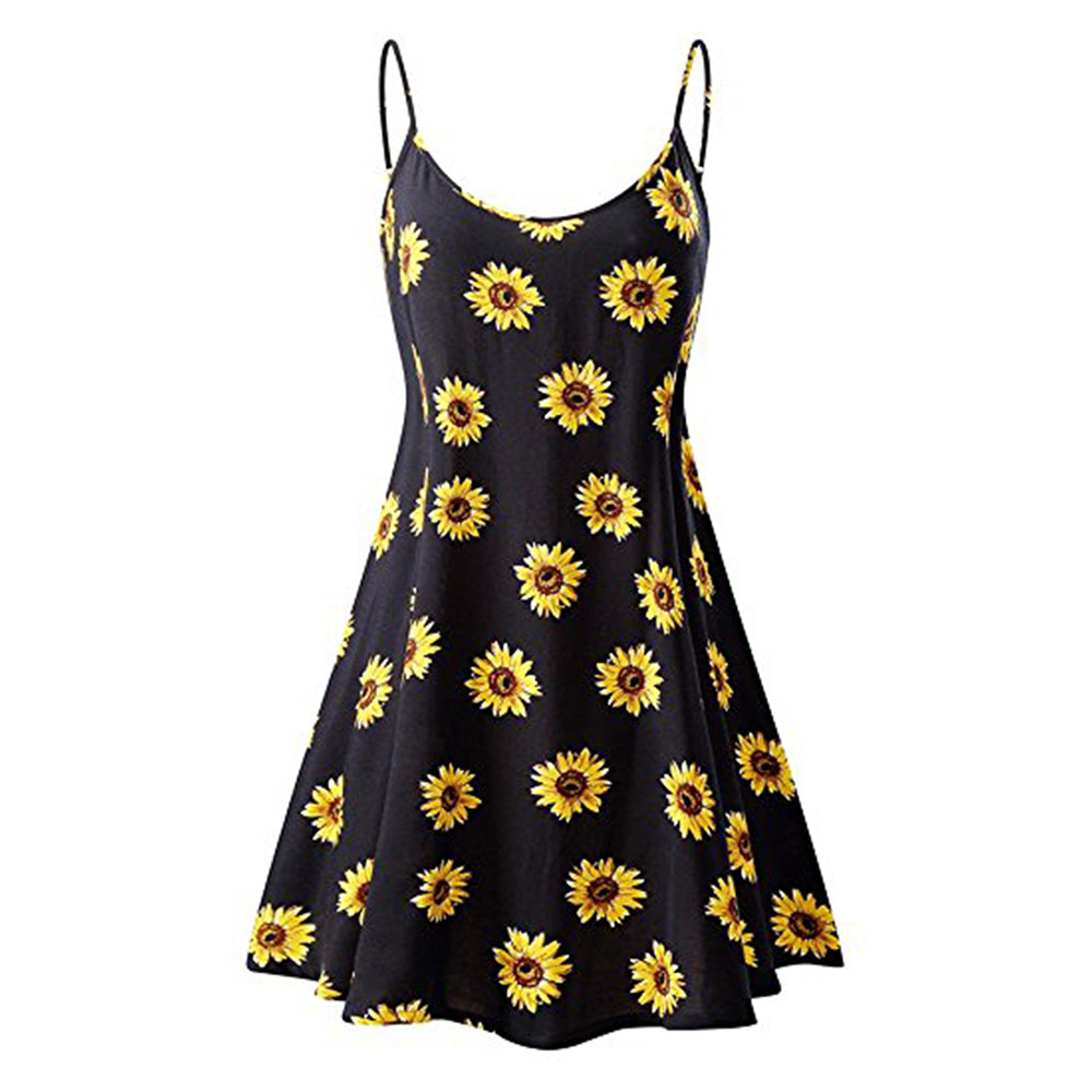 Women's Sleeveless Adjustable Strappy Summer Beach Swing Dress 1