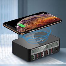 عالمي نوع C تشى شاحن لاسلكي 5 منافذ USB QC 3.0 شاحن سريع USB حامل محطة شحن LCD الجهد الحالي العرض
