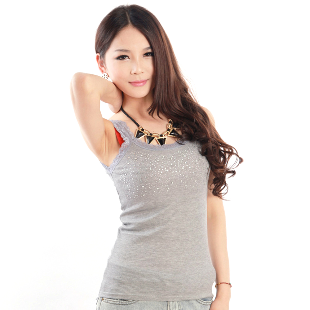 Lace Sling Summer Tank Top Women Cotton Sexy Rhinestone Sequin Sleeveless Slim Camisole Cami Vest Casual Loose Solid Female in Tank Tops from Women 39 s Clothing