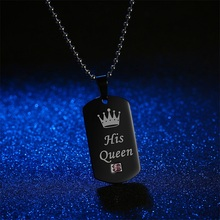 Stainless Steel Couple Necklaces Her King & His Queen Crown Tag Pendant Necklace With Stone