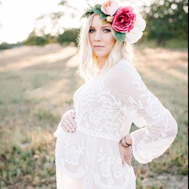 2016 Adereços Fotografia de Maternidade Algodão Maternidade Roupas Lace Vestidos Moda Roupas grávidas Rendas de Croché vestido de maternidade