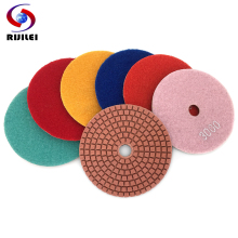 RIJILEI 10PCS/Set 80mm Diamond Polishing Pads 4inch Wet polishing pad for Marble Abrasive Tools Free shipping HC11B