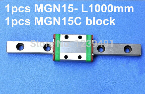 1pcs MGN15 L1000mm linear rail + 1pcs MGN15C carriage 1pcs mgn15 l1000mm linear rail 1pcs mgn15c carriage