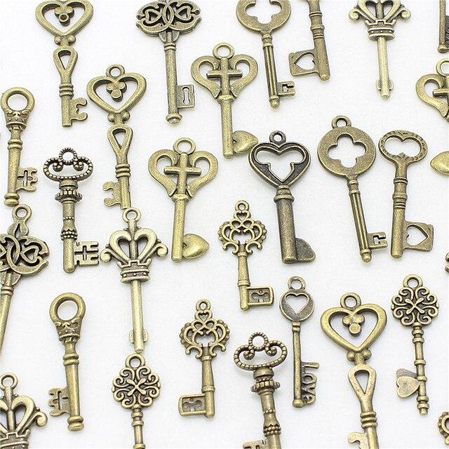 Sweet Bell 40pcs Mixed small Keys charms Vintage bronze Metal Zinc Alloy Fine Tr