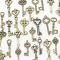 Sweet Bell 40pcs Mixed small Keys charms Vintage bronze Metal Zinc Alloy Fine Trendy Mixed Pendant Charms Making D1089