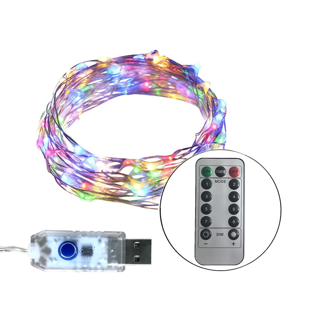Led String Lights Usb : 33FT 10M 100LEDs 5V LED String Lights USB 8 Function Sliver wire Fairy LED Christmas Lights ...