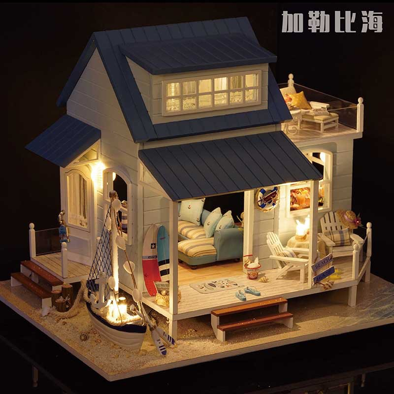 A037 diy large dollhouse villa Holiday doll house Miniature Wooden Building Model Furniture Model For child Toys Birthday Gifts d030 diy mini villa model large wooden doll house miniature furniture 3d wooden puzzle building model