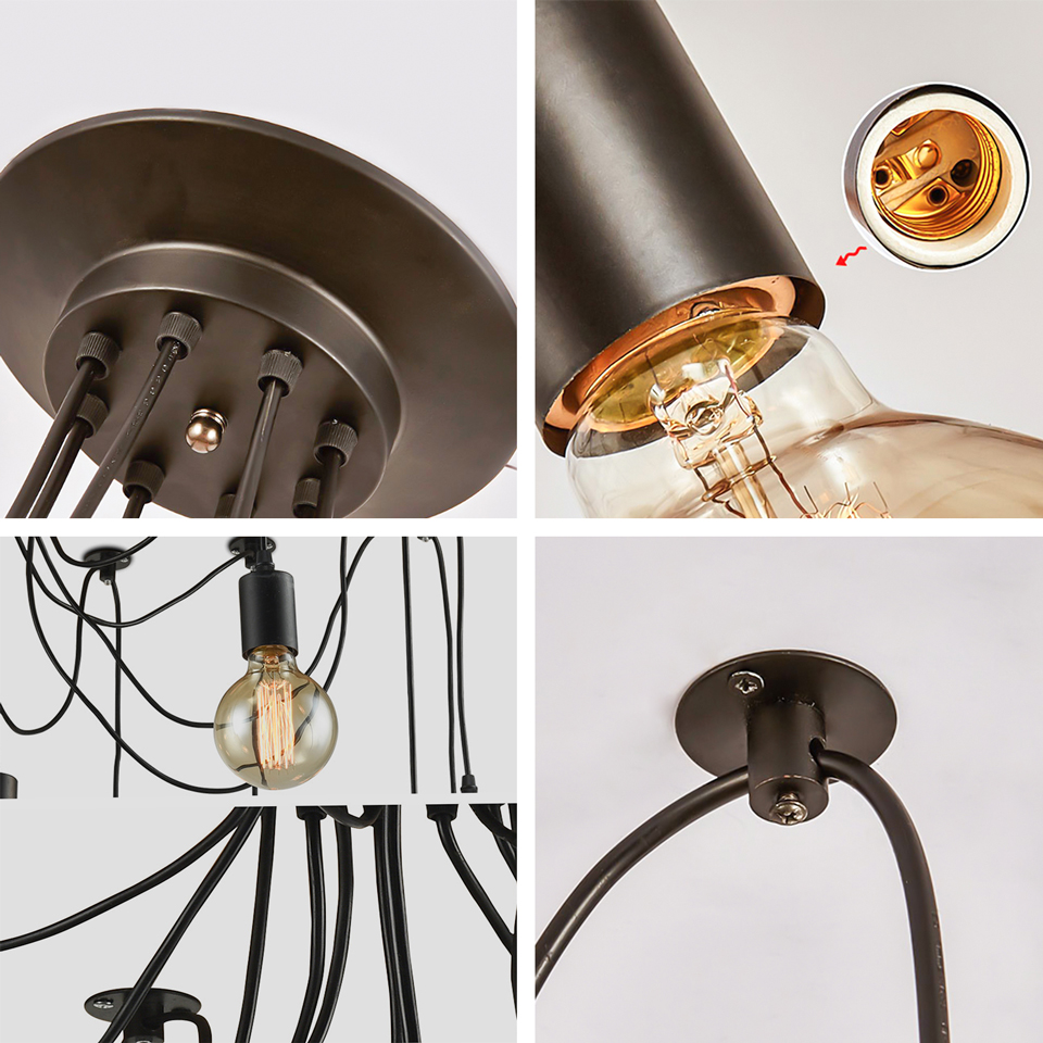 Vintage Multiple Adjustable Wire Diy Ceiling Spider Pendant Lighting Fluorescent Fixtures On Wiring In Series 12 14 Heads With E27 Lamp Holder For Home Bar Hotel Lights From