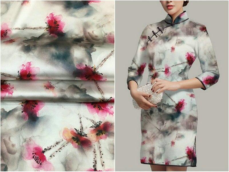108 cm de large 19mm 97% soie et 3% spandex encre pad imprimer stretch blanc soie satin tissu pour robe chemise vêtements cheongsam C009