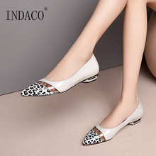 Women Flats Genuine Leather Shoes Flat Ladies Shoes Slip On Pointed Toe Leopard Flats Women Casual Shoes floral shoes female 2018 genuine leather women s flat shoes handmade slip on stitches flats round toe comfort shoes for women