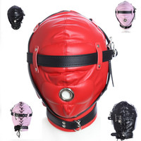 Gry dla dorosłych Nowy PU Niewolnik Okapy Głowy Głowy Maski Odpinany Maska Maska BDSM Bondage Sex Zabawki Dla Dorosłych Produkty dla dorosłych gry