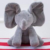 Christmas Cute Elephant Rabbit Pig Stuffed Animals Singing Toys Plush Elephant Doll Play Music Elephant Educational