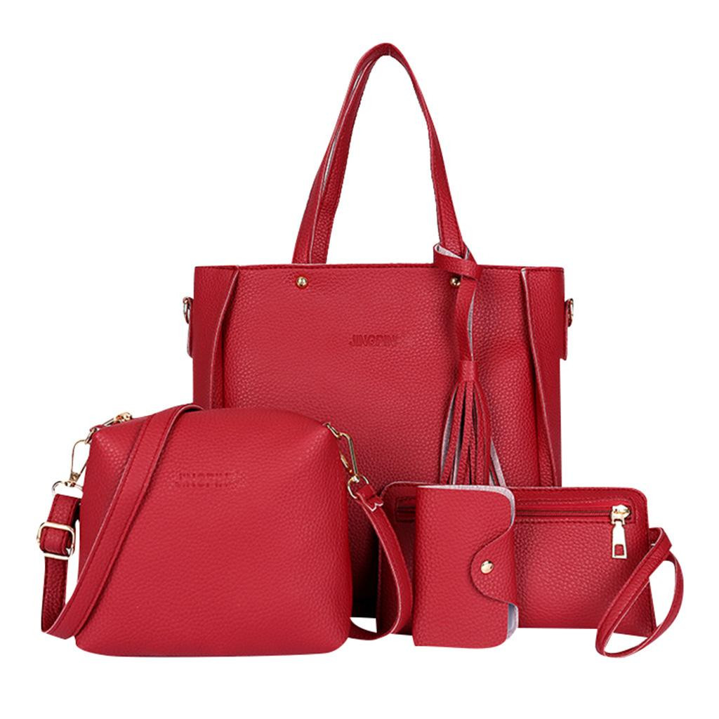 4 PCS Woman bag Multifunction Shoulder Messenger Bag Wallet Handbag High Quality Casual Travel Hand Bags bolsa feminina T