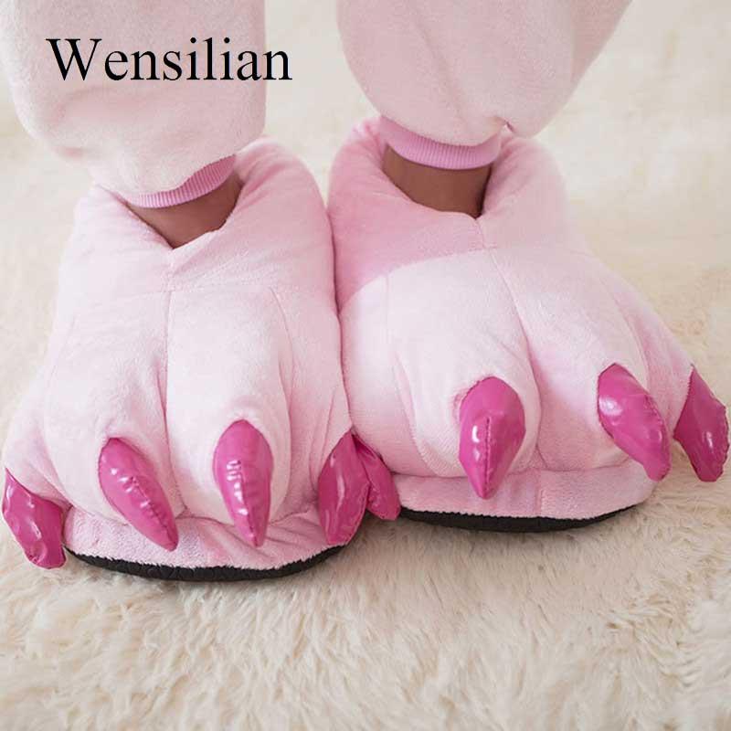 Men&Women Winter Slippers Ladies Slip On Sliders Funny Animal Paw Children Plush Slippers Female Fuzzy Fur Flip Flops Slides slip on design fuzzy bow slippers