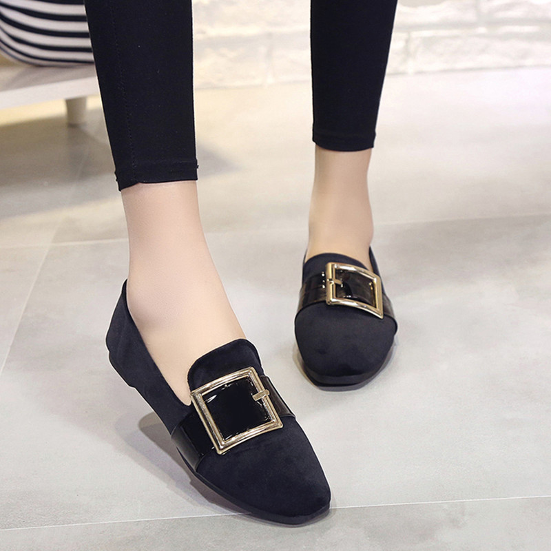 все цены на  Shoes Woman 2017 Fashion New Metal Buckle Suede Shallow Mouth Pointed Shoes Comfortable Flat Women Shoes Normal Size 35-39  в интернете