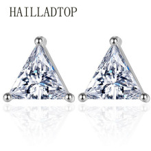 Fashionable Full Crystal Stud Earring With CZ Diamonds Lady Trendy Coroa Brincos Pendiente Women Men Earrings Triangle Jewelry