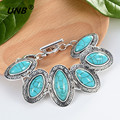Bohemian Turquoise Charm Bracelets & Bangles for Women Men Jewelry Lovely Vintage Silver Pendant friendship pulseras bracelet