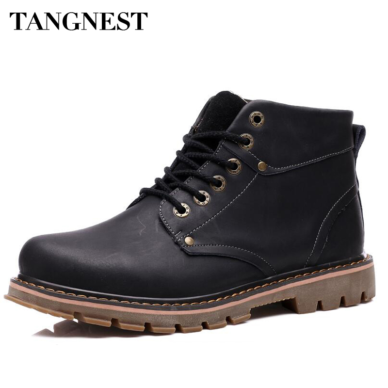 Tangnest Mans Plain Solid Patchwork Warm Fur Ankle Boots Men Vintage Genuine Leather Shoes Men Lace Up Safe Woring Boots XMX654
