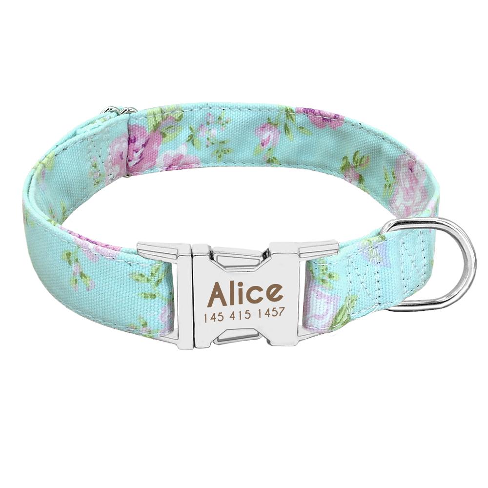 Collar de perro de Nylon personalizado con placa de identificación grabada 8