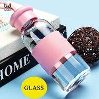 Luluhut glazen fles transparante pot glazen fles draagbare glas water creatieve glazen fles voor outdoor en sport