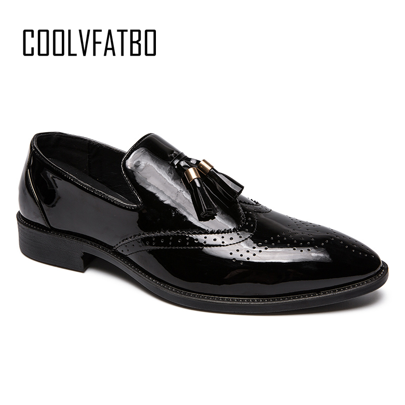 COOLVFATBO Patent Leather Oxford Shoes For Men Dress Shoes Men Formal Shoes Pointed Toe Business Wedding Plus Size 38-47 bimuduiyu patent leather oxford shoes for men loafers dress shoes formal shoes pointed toe business fashion groom wedding shoes