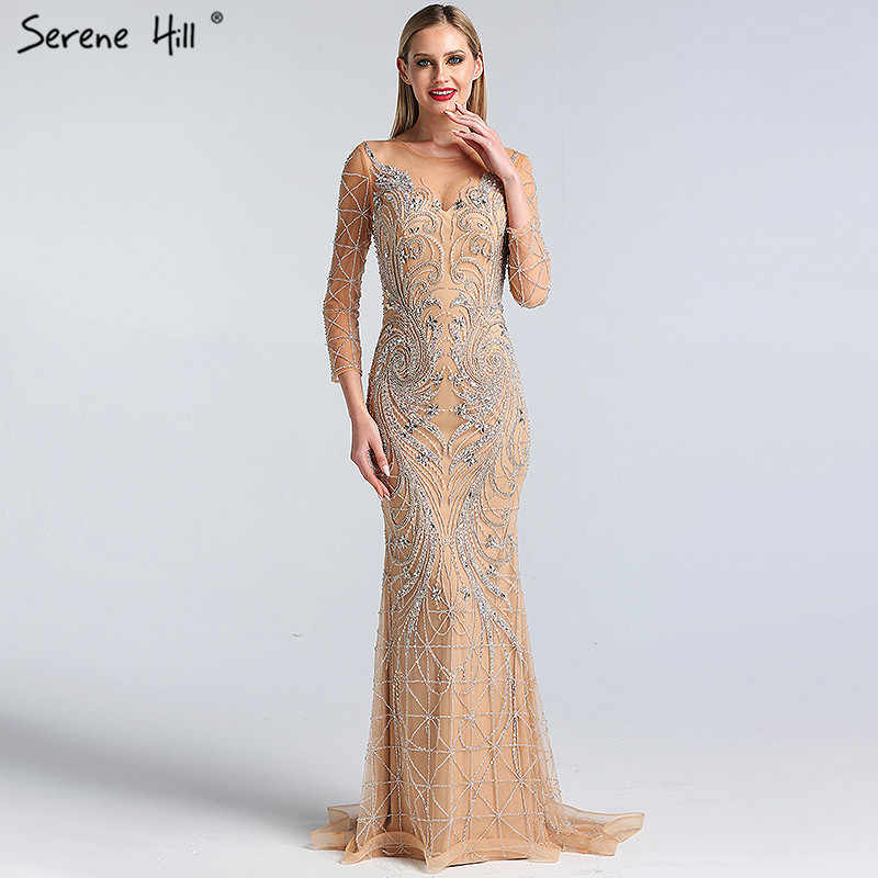 153ed7b30760e Dubai Designer Luxury Illusion Sexy Evening Dresses 2019 Nude Long Sleeve  Beading Sequined Evening Gowns Real Photo LA60775