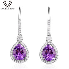 DOUBLE-R 4.35ct Genuine Natural Amethyst Drop Earrings fine Wedding Jewelry 925 Sterling Silver Long Dangle Earrings for Women