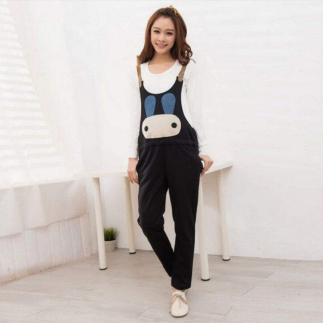 2016 New Pregnant Cartoon Suspender Trousers 4 Colors Spring & Autumn Maternity Overalls M-XXL Women's Pregnant Pants, HB018