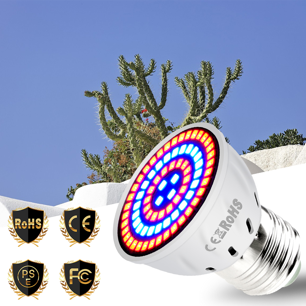 E27 LED Grow Light Full Spectrum Led E14 Plant Growth Light 220V MR16 Phyto Lamps GU10 48 60 80led Fitolamp B22 Grow Tent 2835