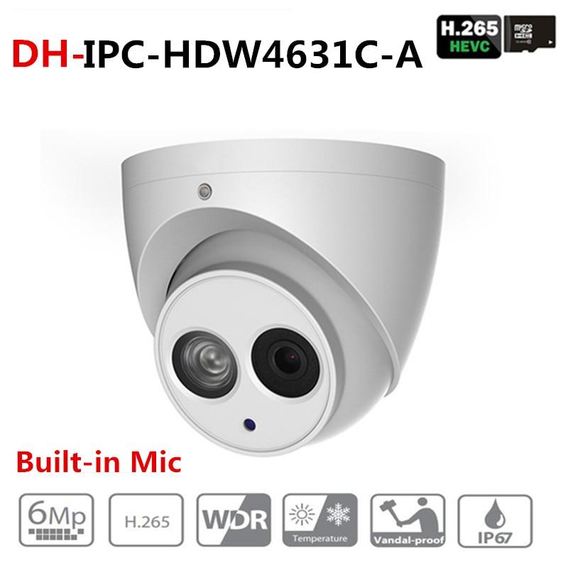 Dahua IPC-HDW4631C-A 6MP HD POE Network IR Mini Dome IP Camera Metal Case Built-in MIC CCTV Camera Starnight Vision with DH logo