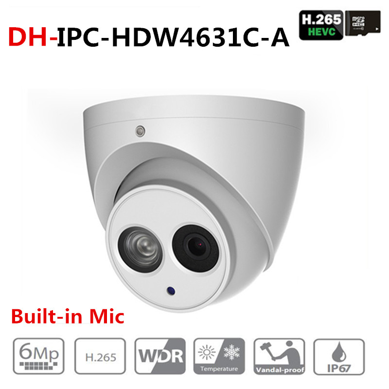 DH IPC-HDW4631C-A 6MP HD POE Network IR Mini Dome IP Camera Metal Case Built-in MIC CCTV Camera Starnight Vision with dahua logo dahua 2x2mp starlight ir mini dome network camera ipc hdbw4231f e2 m built in mic ip67 ik10 original security ip camera no logo