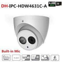 Dahua IPC HDW4631C A 6MP HD POE sieć IR Mini kamera IP kopułkowa metalowa obudowa wbudowany mikrofon kamera telewizji przemysłowej Starnight Vision z logo DH