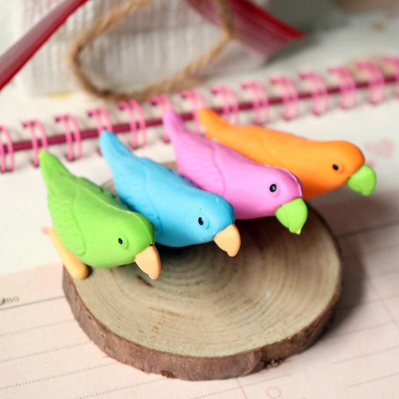 Креативный мультяшный ластик в виде попугая, животных, птицы, резиновые Канцелярские Принадлежности для студентов, школьные принадлежност...