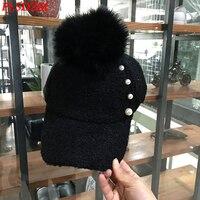 PJ.SDZM Women's Autumn and Winter Warm Hat Plush Fur Ball Cap Korean Version Baseball Cap Female