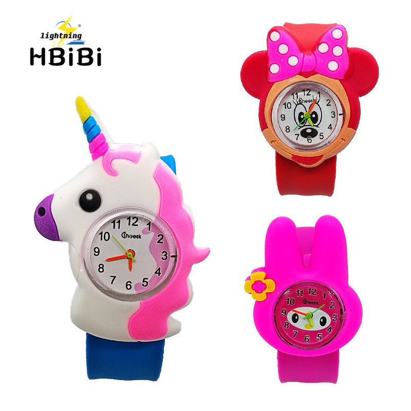 3D Kids Cartoon Unicorn Watches Lovely Rabbit Silicone Band Slap Watch Casual Animal Children Clock Creative Quartz Wristwatches