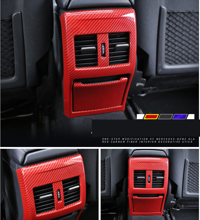Carbon Fiber Color Rear Air Outlet Cover Trim For Mercedes Benz A W176 B W246 GLA X156 CLA C117 2013-18 ABS Decoration