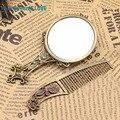 Classic Retro Vintage Espejo de Maquillaje Compacto de Cobre de Oro Ahueca Hacia Fuera Cosméticos de Mano Espejo con Peine Del Pelo