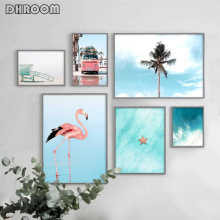 Coastal Landscape Poster Print Beach Ocean Wall Art Flamingo Canvas Painting Nordic Decoration Picture for Living Room