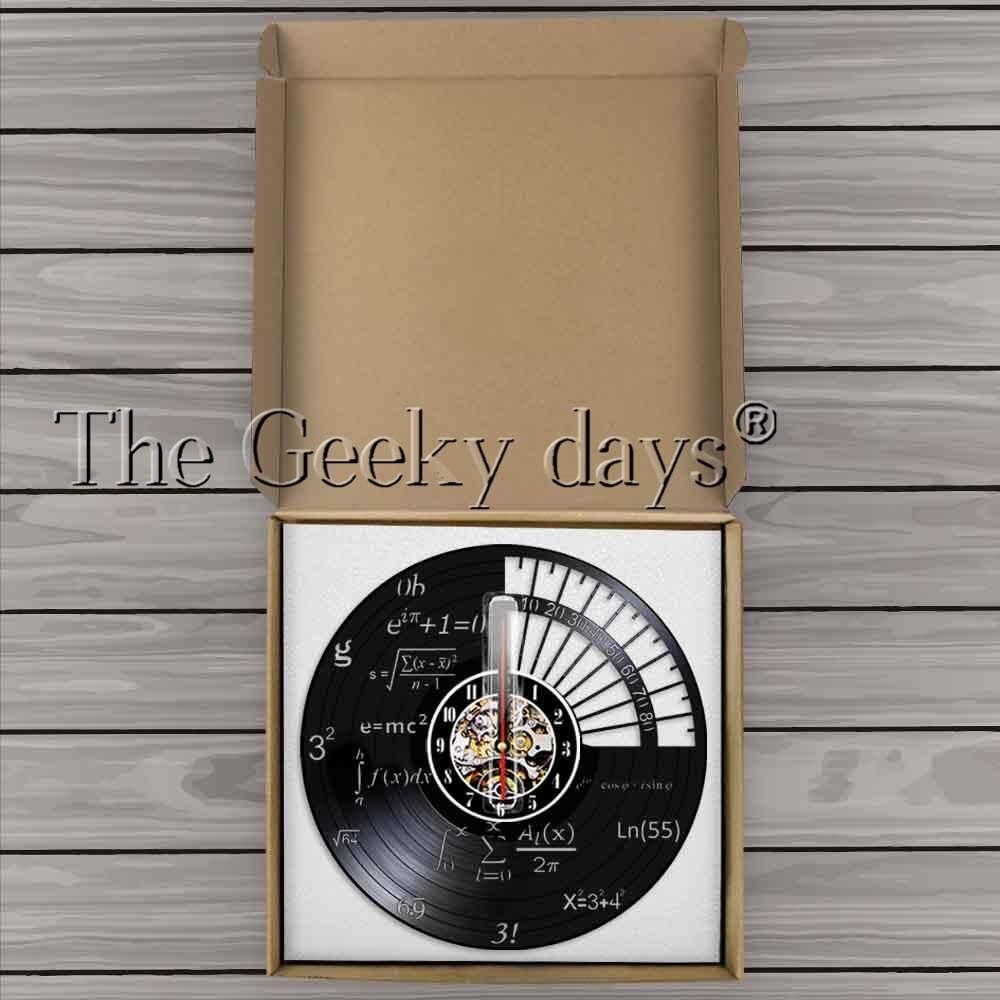 Science Decor Math Equation Wall Clock Algebra Geometry Vinyl Record Wall Clock Math Formula Decorative Wall Watch Teachers Gift