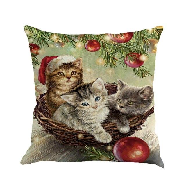 45*45 CM Natale simpatico gatto Federa Stampa Animale Biancheria Tintura Cuscini