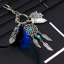 Kleine Handgemaakte Veer Dream Catcher Sleutelhanger Sleutelhanger Decor Auto Zak Opknoping Decoratie Hanger Nieuwe Jaar Dreamcatcher Gift(China)