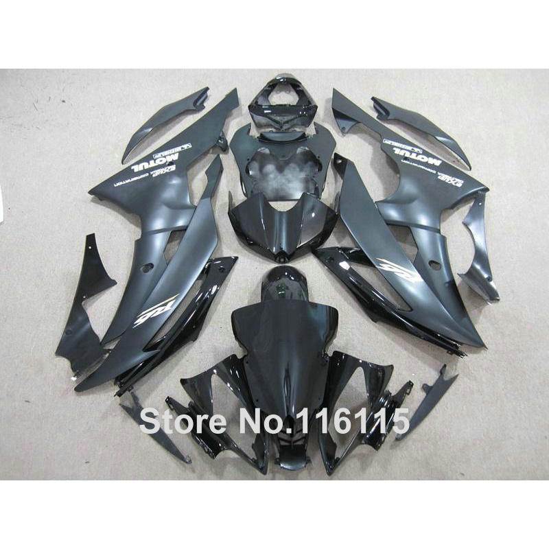 Injection molding Plastic fairings set for YAMAHA YZF-R6 2008 - 2013 2014 all black YZF R6 08 09 - 14 custom fairing kit ZB69 injection molding bodywork fairings set for yamaha r6 2008 2014 blue white black full fairing kit yzf r6 08 09 14 zb77