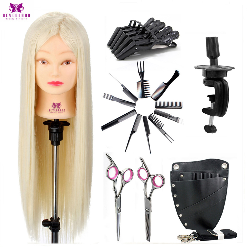 Salon Training Mannequin Head Set For Hairstyles Professional Hairdressing Dolls Practice Head Model With Holder Scissors Tools