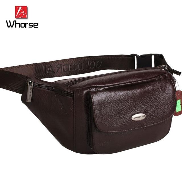 Nuevo Cuero Genuino de Los Hombres Bolsas de Viaje Paquete Pecho Bolso de La Correa Correa Del Zurriago Verdadero Casual Paquetes de La Cintura Para Los Hombres de Lujo WB71907