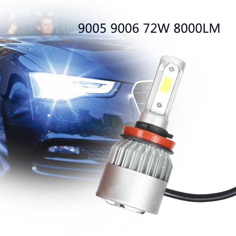 1 par coche faro H7 H1 LED H3 H11 H27 HB3 HB4 9005 9006 72 W 8000LM Auto faro H4 h13 9007 accesorios del coche luz Led