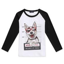 2019 Limited Time Discount Children Clothing Boys Raglan Long Sleeve Tops Girls T Shirt Siberian Husky Dog Printed Kids T-Shirt raglan sleeve bowknot embellished cut out t shirt