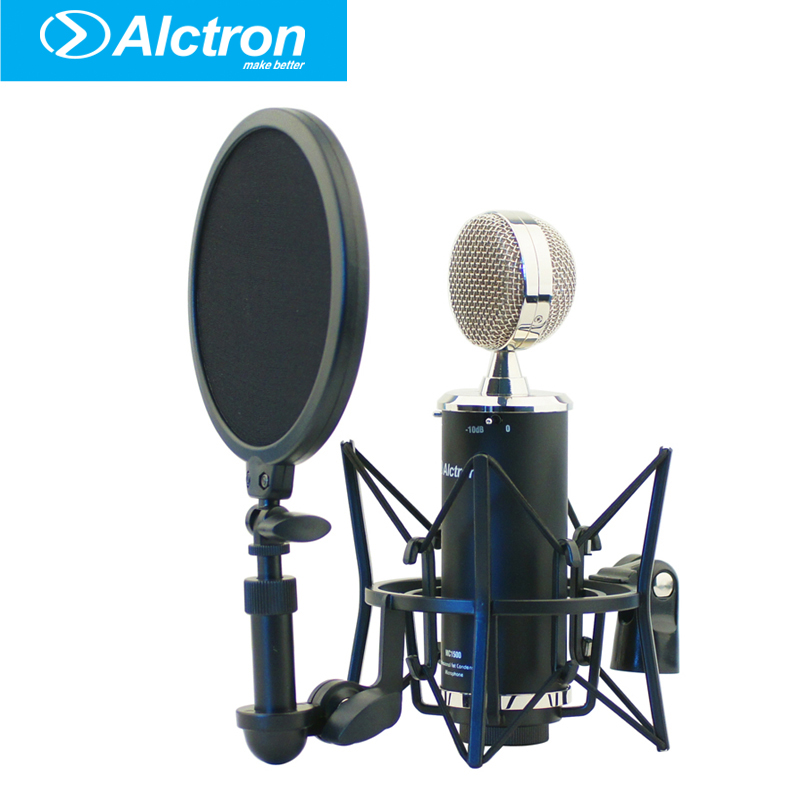 Alctron mc1500 professional FET condenser microphone recording microphone with popfilter and stockmount Aluminum case package