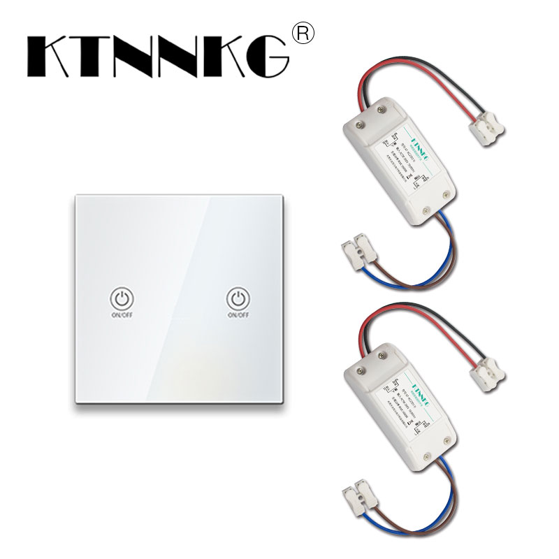KTNNKG 220V light switch infinite touch panel remote can be installed on any wall Remote control switch does not require wiring