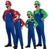 Adult Men Super Mario Brothers Costume Cartoon Cosplay Dress Ball Party Overalls Halloween Performance Prop Mustache